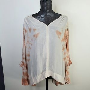 Free People Sheer Cream Peach Laser Cut Blouse